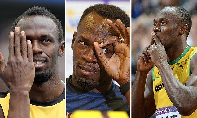 Jamaica's Usain Bolt gestures prior to t