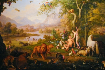 """Adam and Eve in the Earth paradise"" by Wenzel Peter, XIX century. Held in Vatican museums."